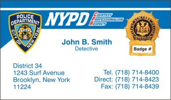 Policebusinesscardscom display business cards for Nypd business cards